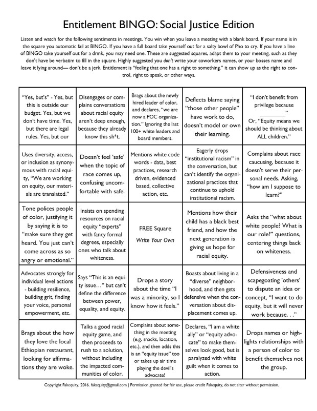 entitlement bingo Social Justice Version