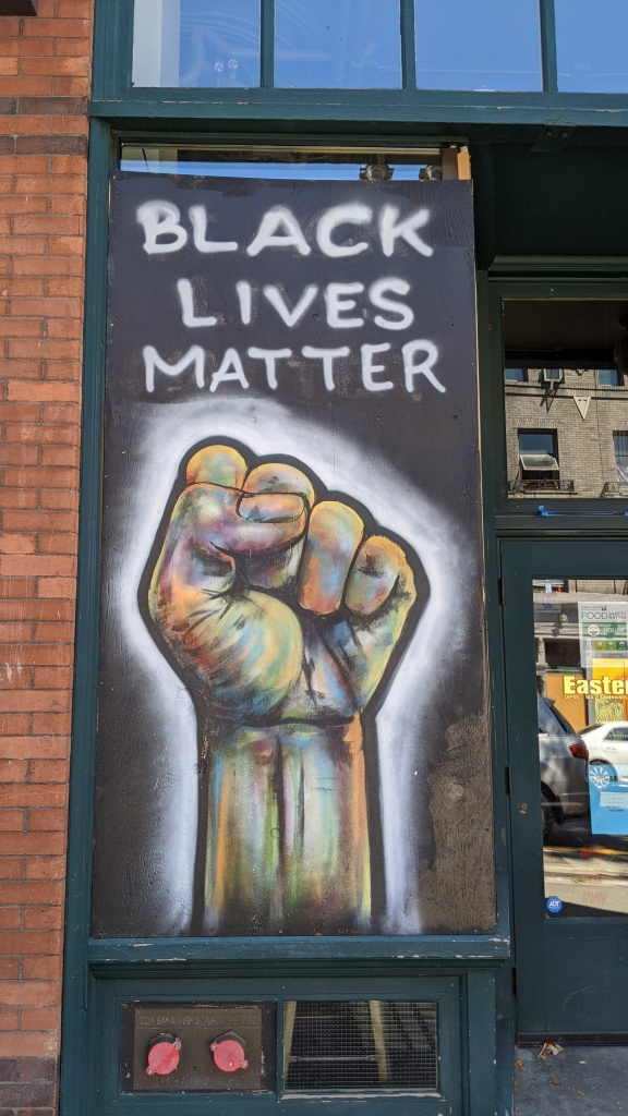 Black Lives Matter fist mural